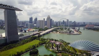 Aerial of Marina Bay Sands and Gardens By The Bay and Skyline, Singapore