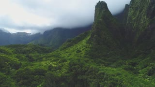 Aerial of Mountains in Oahu, Hawaii