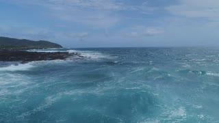 Aerial of Ocean and Waves in Oahu, Hawaii