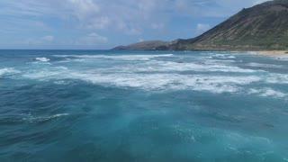 Aerial of Ocean Waves in Oahu, Hawaii