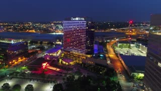 Aerial of Omni Hotel in Downtown Dallas, Texas at Night