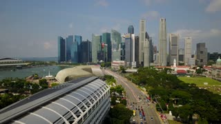 Aerial of One Raffles Link, Esplanade Theatre and Singapore Skyline