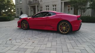 Aerial of Porsche and Ferrari at Entrance of Mansion Estate, Long Island