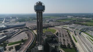 Aerial of Reunion Tower and Highways, Dallas, Texas