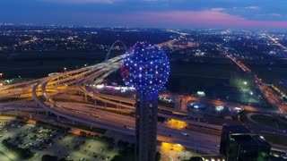 Aerial of Reunion Tower in Downtown Dallas, Texas at Night