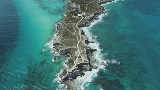 Aerial of Rocky Cliffside, Cancun, Mexico