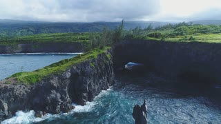 Aerial of Rocky Cliffside in Maui, Hawaii