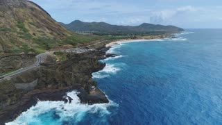 Aerial of Rocky Cliffside in Oahu, Hawaii