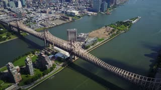 Aerial of Roosevelt Island and the Queensboro Bridge, NYC