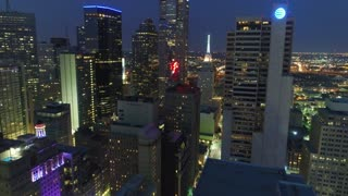 Aerial of Skyscrapers in Downtown Dallas, Texas at Night