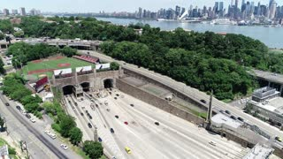 Aerial of the Lincoln Tunnel Entrance in New Jersey
