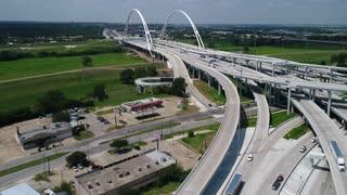Aerial of the Margaret McDermott Bridge, Dallas, Texas