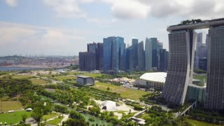 Aerial of the Marina Bay Sands Hotel and Downtown Singapore