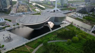 Aerial Of The Tri Bowl, Songdo Central Park, Incheon, South Korea
