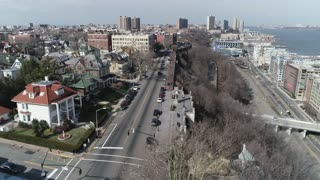 Aerial of Weehawken, New Jersey, February 2018