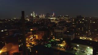 Flyover Aerial of Hoboken, New Jersey at Night