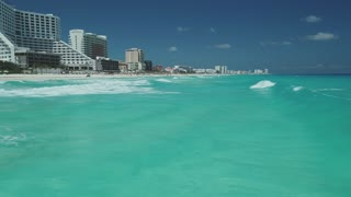 Low Angle Aerial of Beach Waves, Zona Hotelera, Cancun, Mexico