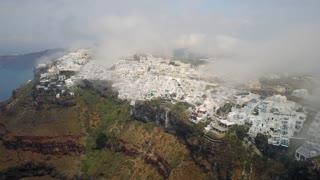 Santorini Buildings On Cliffs Aerial Greece 105 Hotels Shops Pools Low Clouds