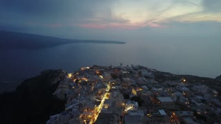 Santorini Buildings On Cliffs Aerial Greece 112 Hotels Shops Pools Low Clouds Night Shot Above Clouds