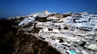 Santorini Buildings On Cliffs Aerial Greece 49 Hotels Shops Pools Church Blue Dome
