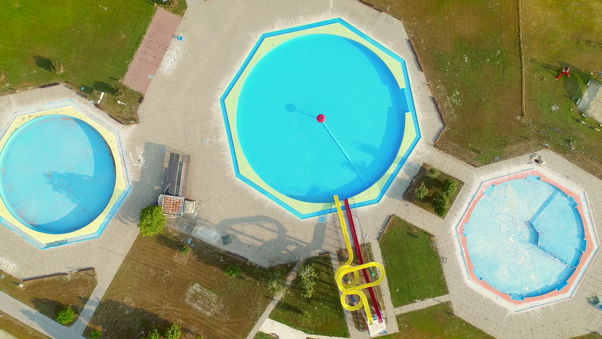 Aerial View Of Empty Pools With Slides In Abandoned Aqua Park Stock Video Footage Storyblocks