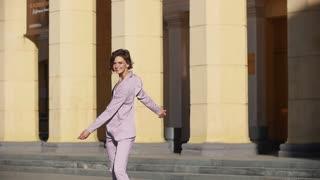 Beautiful girl, walking, happy, dizzy