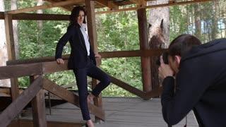 Fashion photographer shooting model