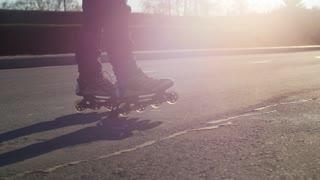 Rides roller skates