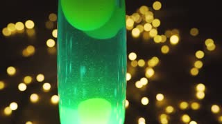 4k Lava Lamp Retro Vintage Hippie Abstract Background, Green Wax Moving  Floating. Bokeh Of