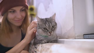 Beautiful young woman and kitten at home. Pet cat and young owner relaxing together