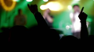 Footage of a crowd partying at a rock concert or dj party