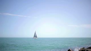 sailing boat in Black Sea in Odessa