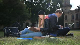 College students studying near campus