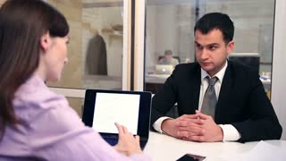 Confident job applicant having interview