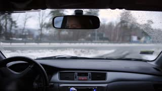 Driving car during snow