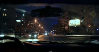 Hyperlapse of night driving from inside of car