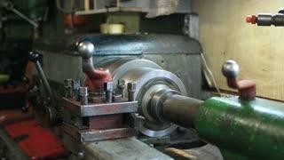 Old turning machinery working in craftsmanship