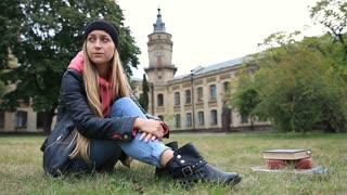 Upset beautiful student after failing final exam