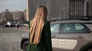 Back view of fashionable woman getting into car