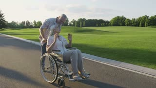 Beautiful senior couple with wife in wheelchair enjoying a walk in summer park. Positive cheerful disabled female kissing and hugging her husband during stroll. Steadicam shot