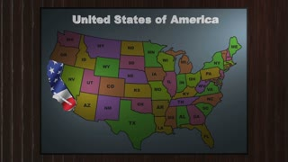California pull out from USA states abbreviations map