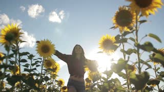 Cheerful woman walking in field of sunflowers