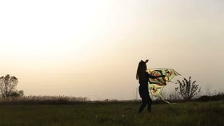 Cute little girl flying a kite in meadow at sunset