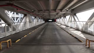 Empty parking lot tunnel road. Industrial interior