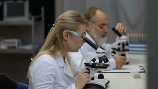 Health care researchers working in laboratory