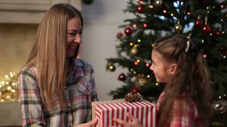 Lovely daughter giving Christmas present to mother
