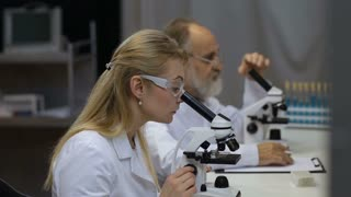 Scientists working on microscopes in laboratory