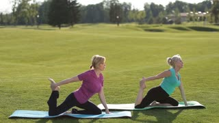 Sporty women performing yoga exercises outdoors