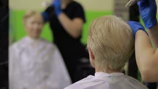 Stylist with hair dye and brush coloring hair
