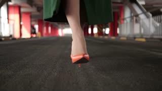 Woman's legs in high heel shoes walking on road